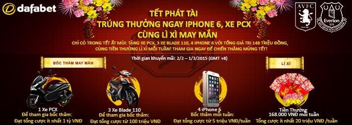 TẾT PHÁT TÀI: TẶNG XE PCX, AIRBLADE, TRÚNG IPHONE 6 VÀ LÌ XÌ MAY MẮN