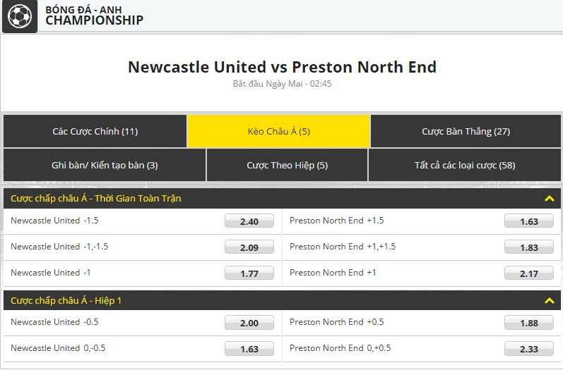 Newcastle United vs Preston North End