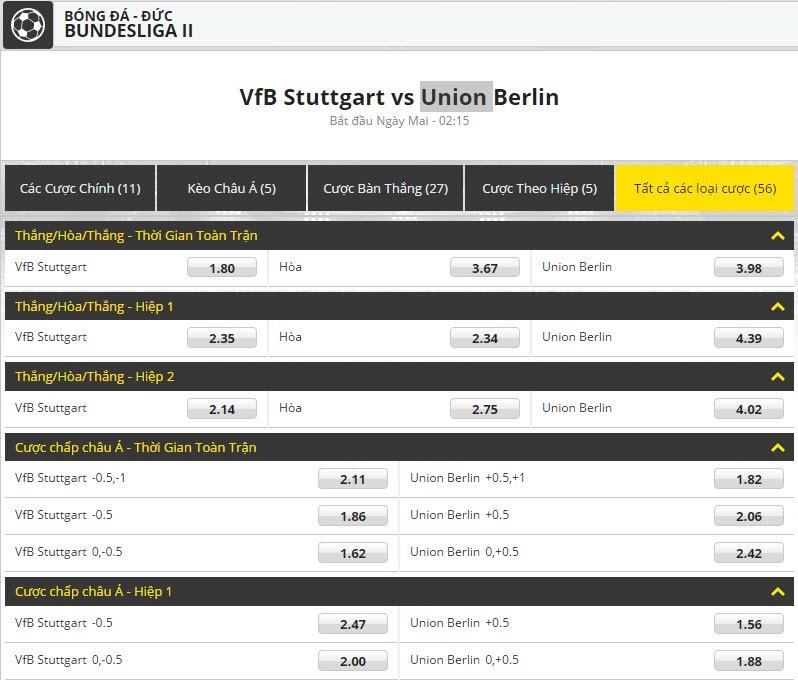 keo bong da dafabet BUNDESLIGA II VfB Stuttgart vs Union Berlin
