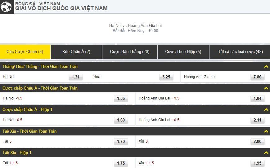 V-League 2019 Vòng 16 Hà Nội vs Hoàng Anh Gia Lai keo bong da
