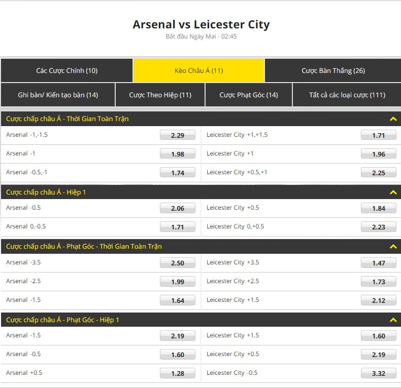 Arsenal vs Leicester City keo bong da chau a