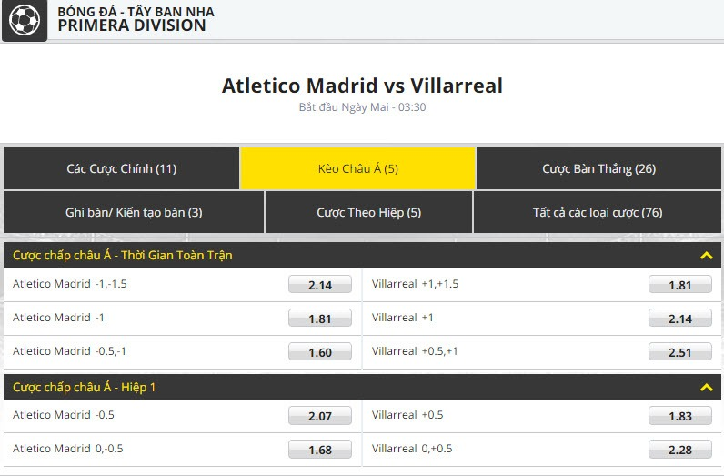 Atletico vs Villarreal dafabet