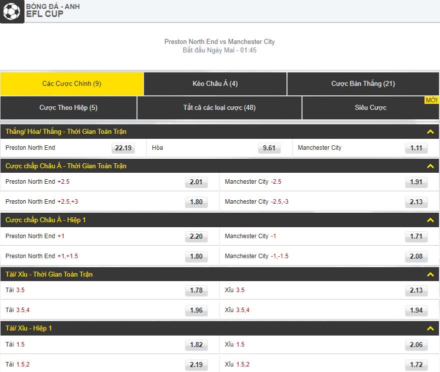 cuoc chinh [Cúp liên đoàn] Preston vs Manchester City