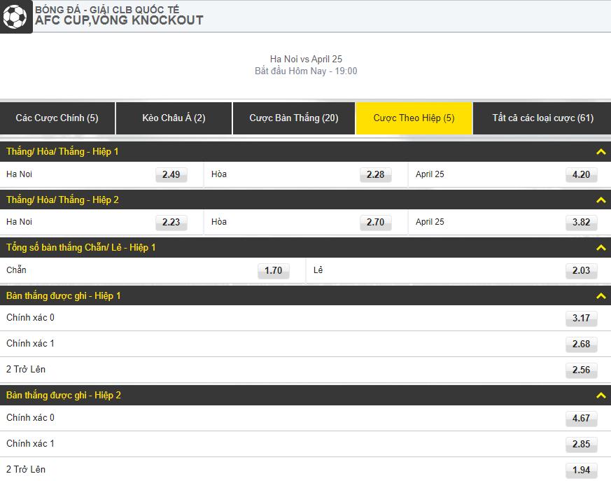 dat cuoc theo hiep dau Hà Nội vs April 25 (Cúp AFC) dafabet