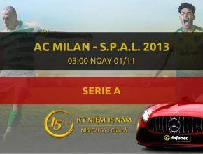 Nhà cái Dafabet ra kèo trực tiếp trận AC Milan - S.p.a.l. 2013. Trận đấu diễn ra: 03h00 ngày 01/11.